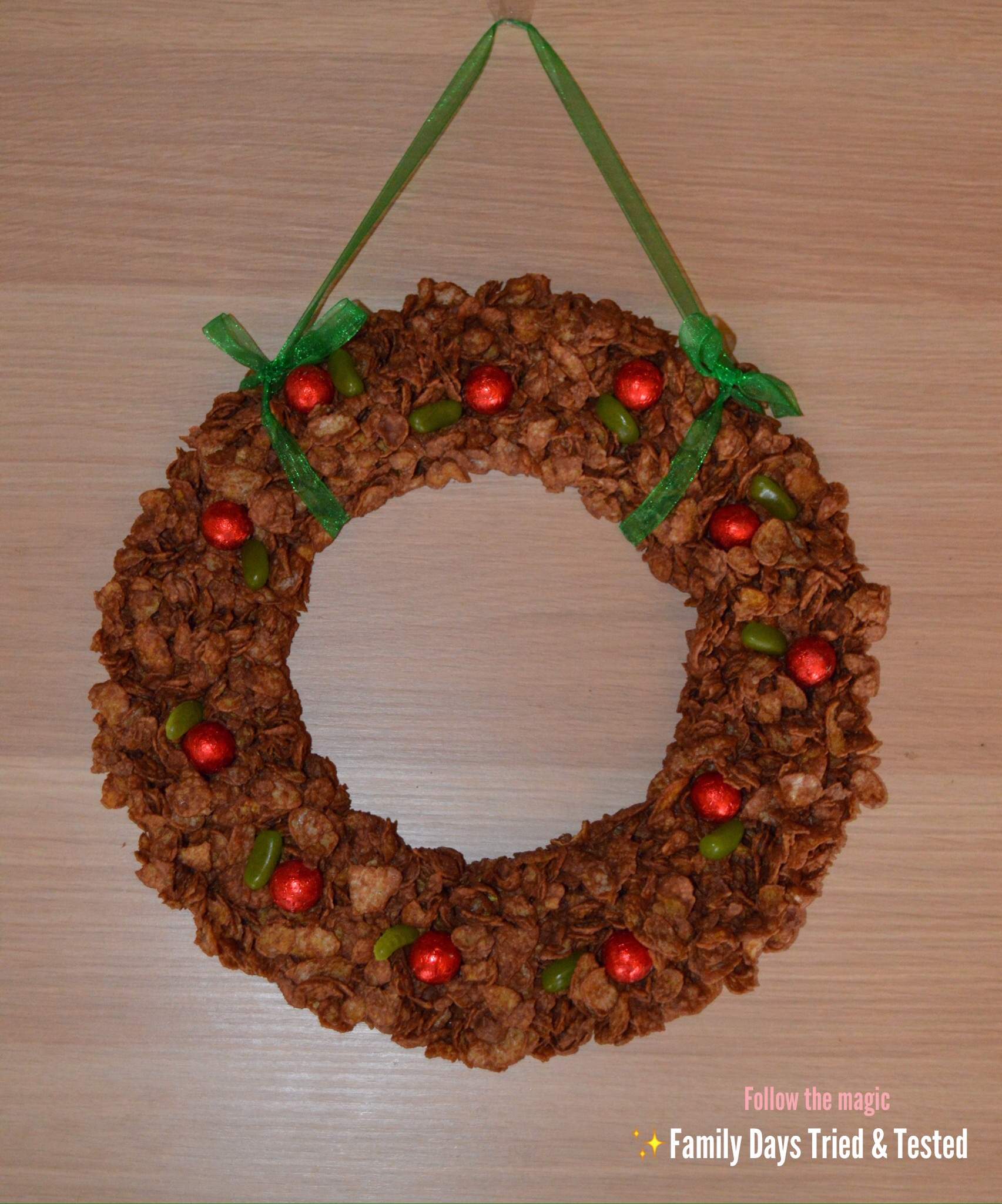 Chocolate Crispy Cake Festive Wreath