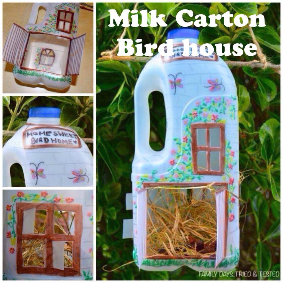 Easter & Spring Ideas - milk carton bird house feeder