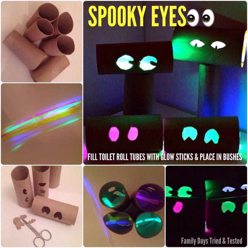 Halloween activities for kids - spooky toilet roll eyes