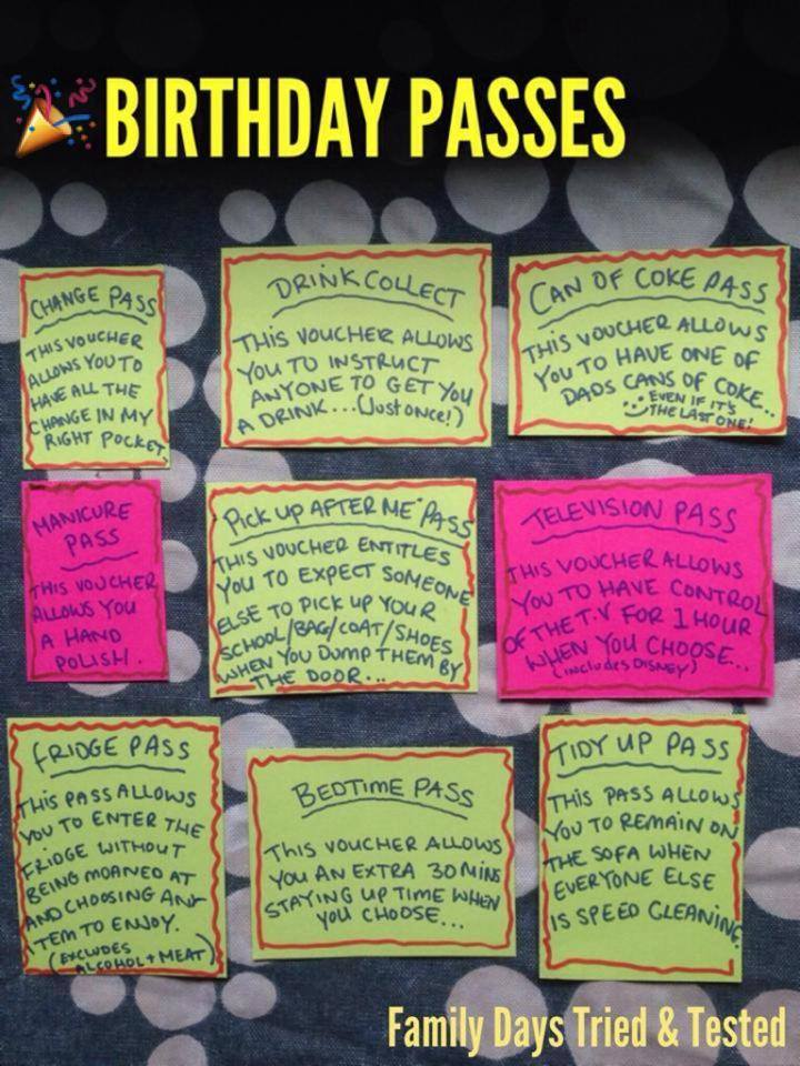 Birthday ideas - birthday passes