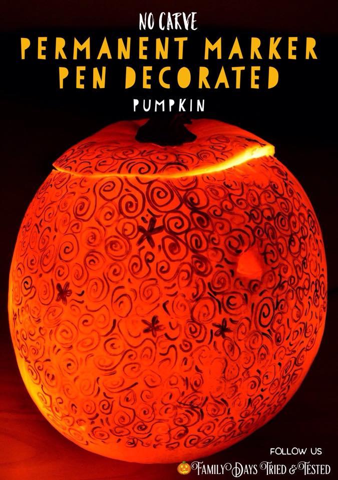 Halloween activities for kids - pen decorated pumpkin