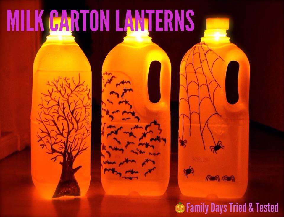 Halloween activities for kids - milk carton lanterns