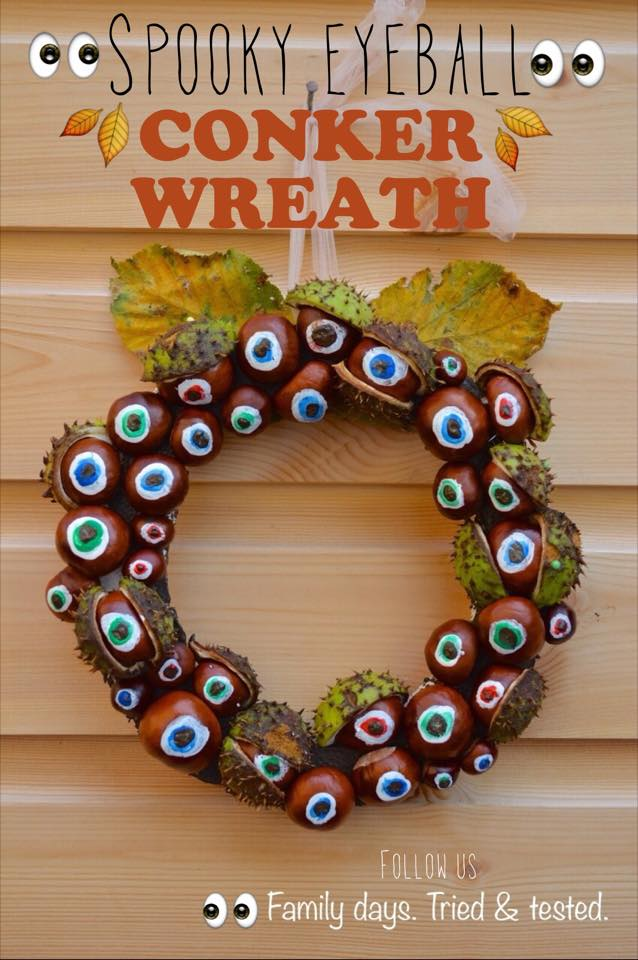 Halloween activities for kids - Spooky Eyeball Conker Wreath