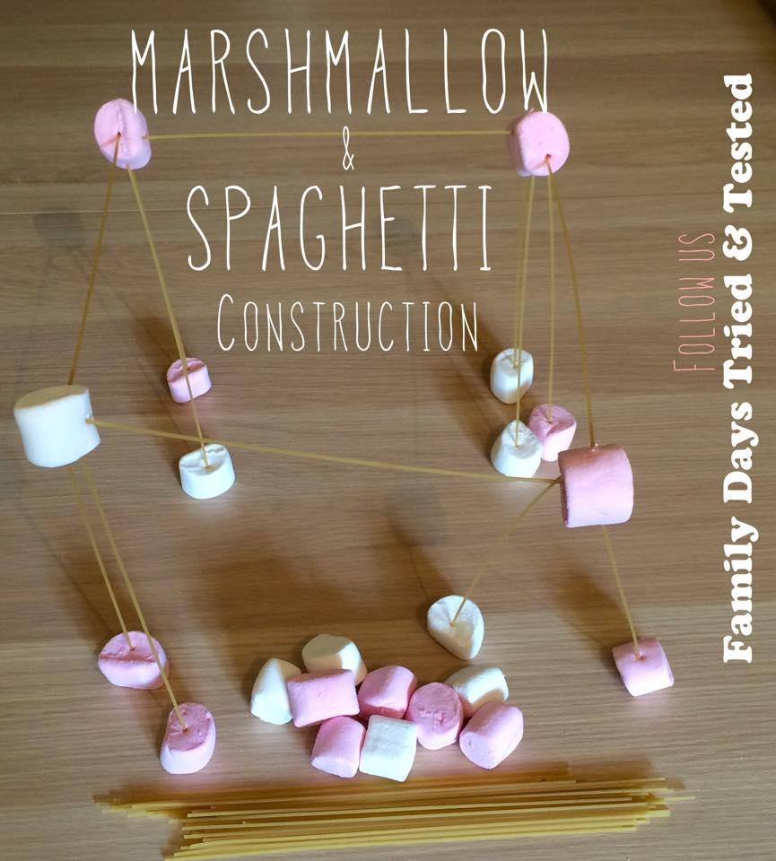 Friday night family fun ideas - marshmallow and spaghetti construction