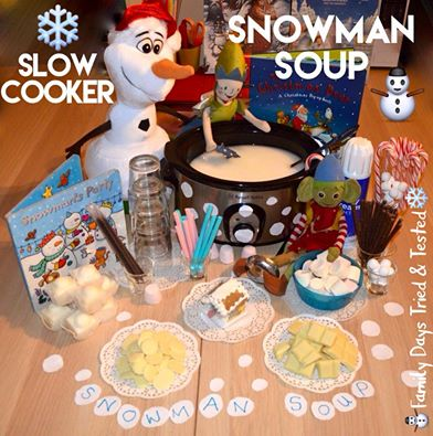 Slow cooker snowman soup (hot chocolate)