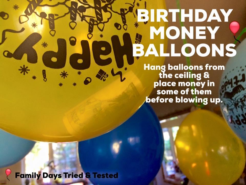 birthday ideas - birthday money balloons