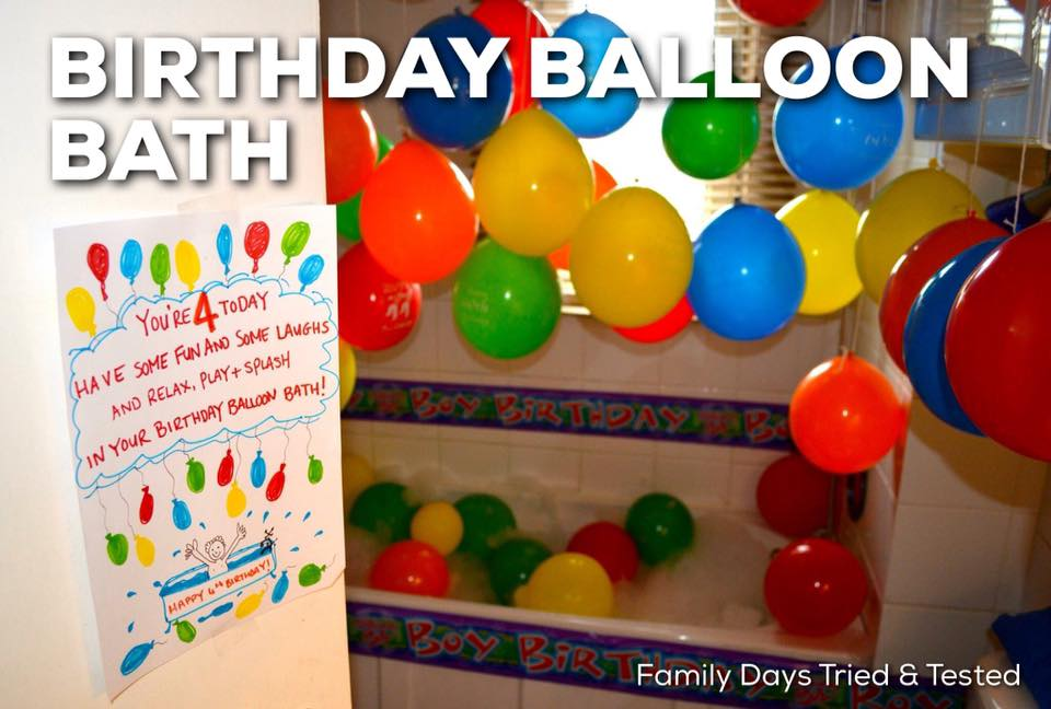 Birthday ideas - birthday balloon bath