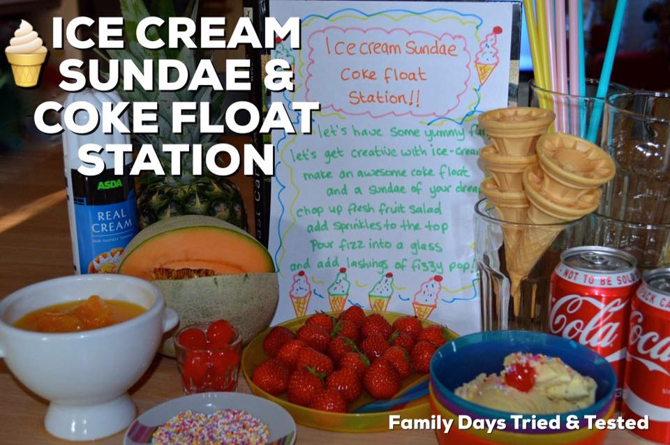 Friday Night family fun ideas - ice-cream sundae and Coke float station