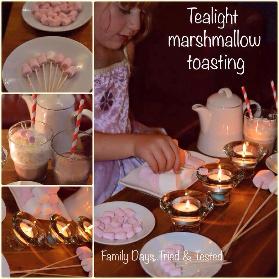 Friday night family fun ideas - tealight marshmallow toasting