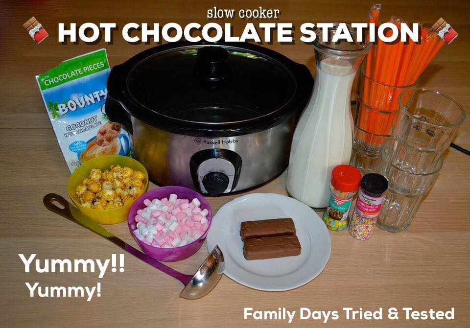 Friday night family fun ideas - slow cooker hot chocolate station