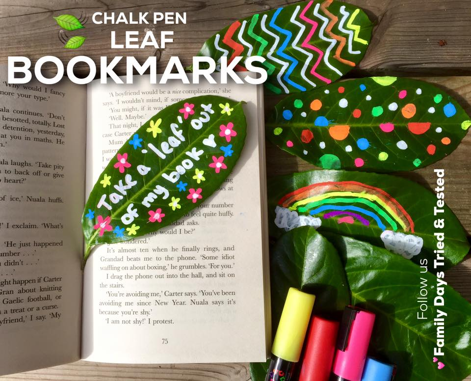 Friday night family fun ideas - leaf bookmarks