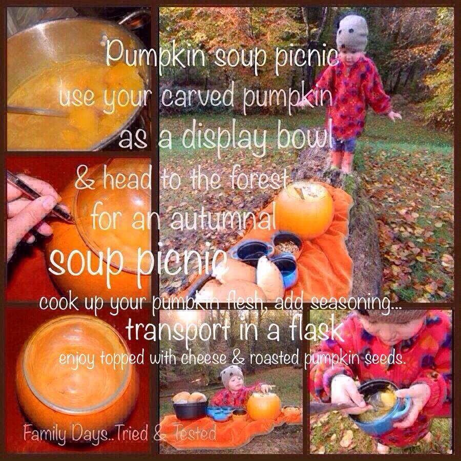 Halloween activities for kids - pumpkin soup picnic