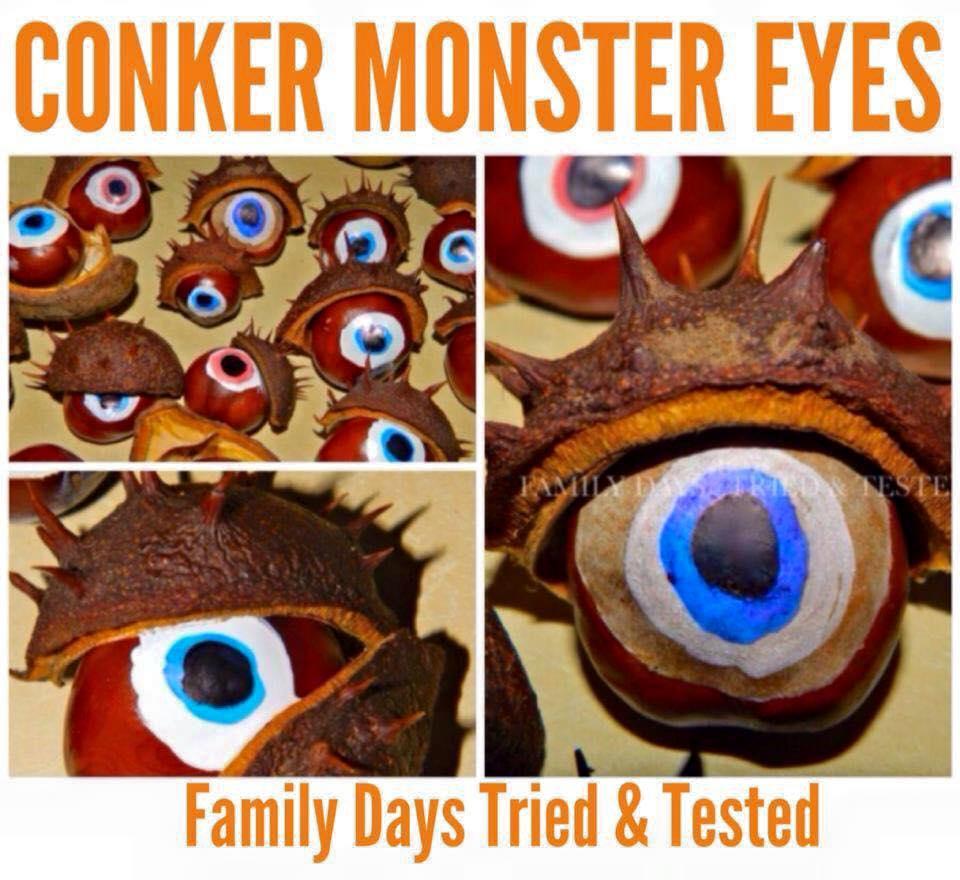 Halloween activities for kids - conker monster eyes