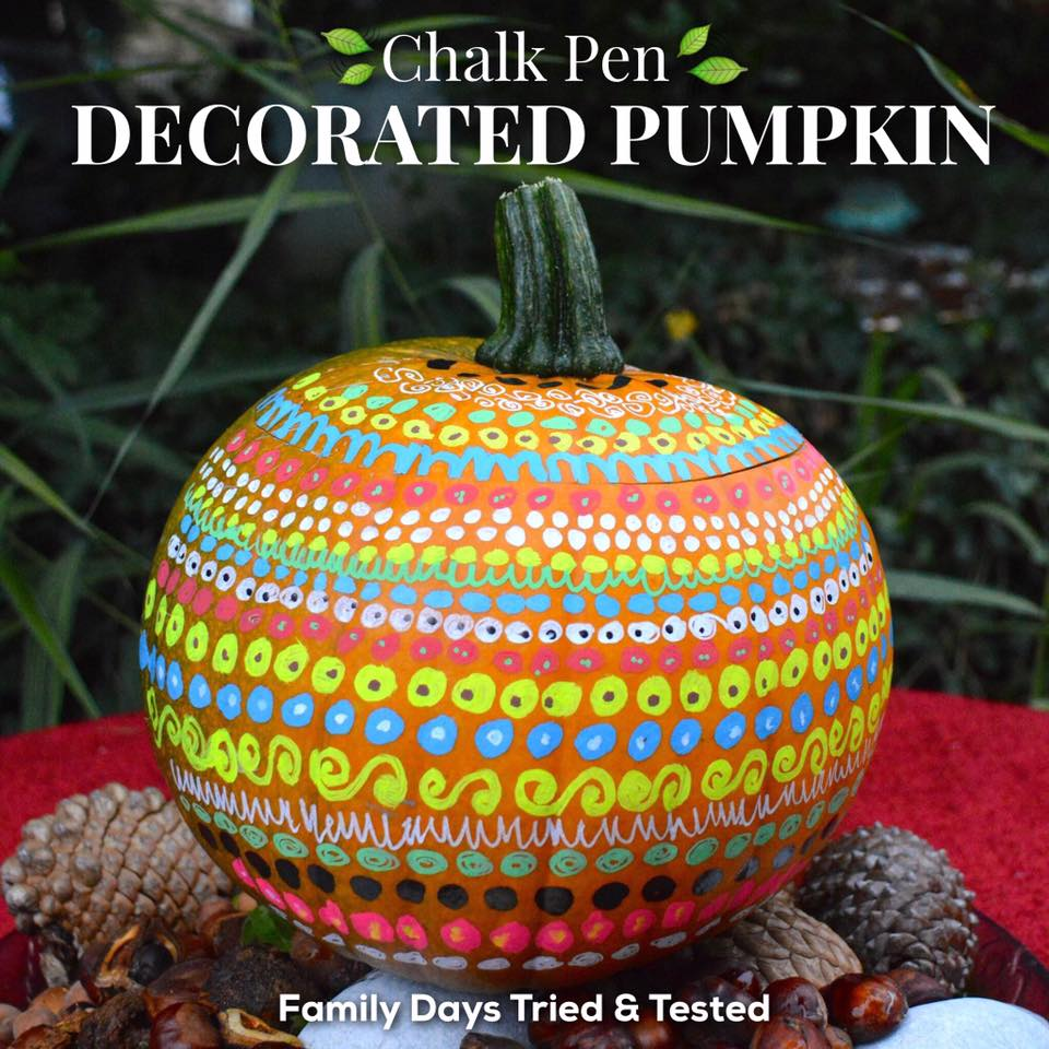 chalk pen decorated pumpkin