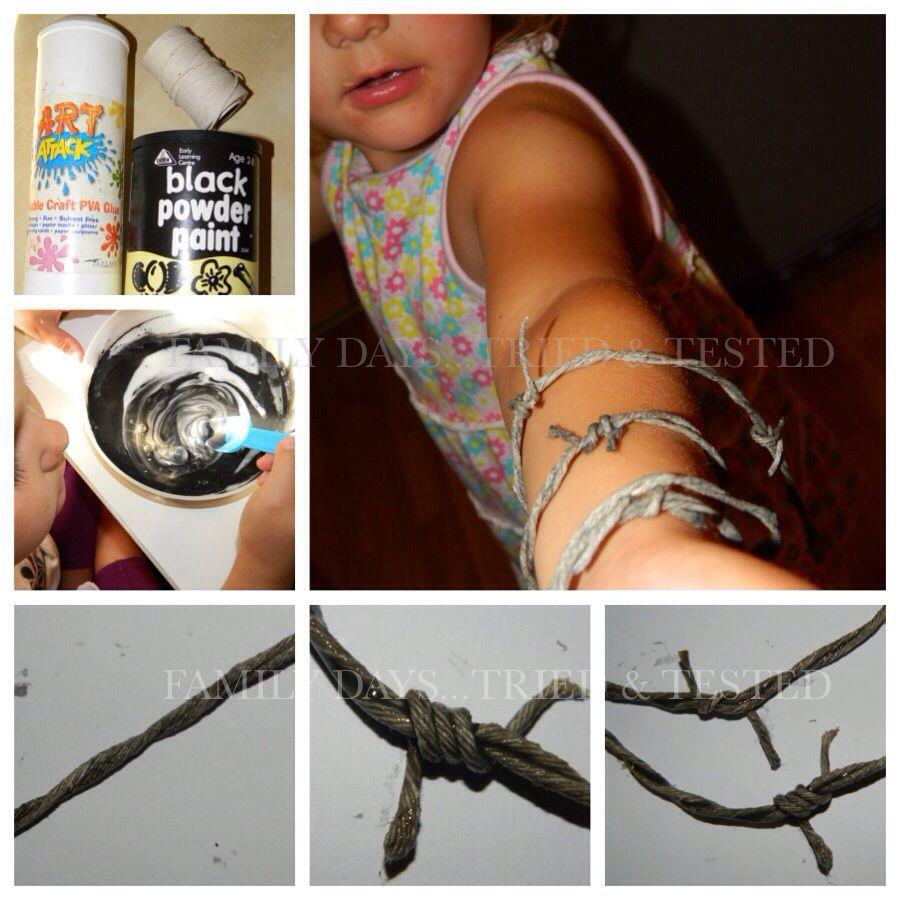 Halloween activities for kids - fake barbed wire