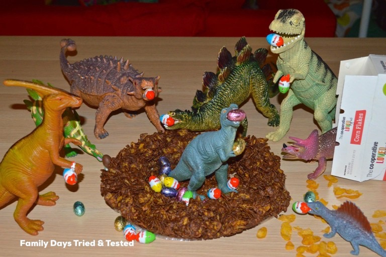 chocolate crispy cake for dinosaurs