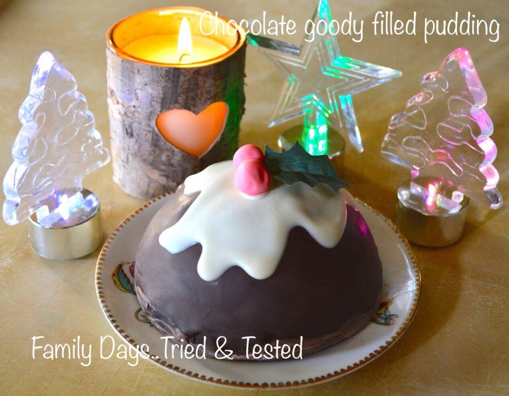 Chocolate goody filled Xmas pudding