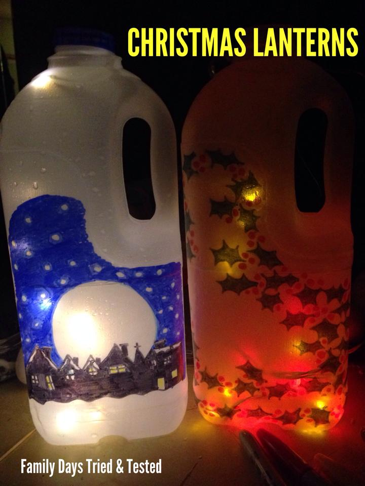 Christmas Activities For Kids - Christmas milk bottle lanterns