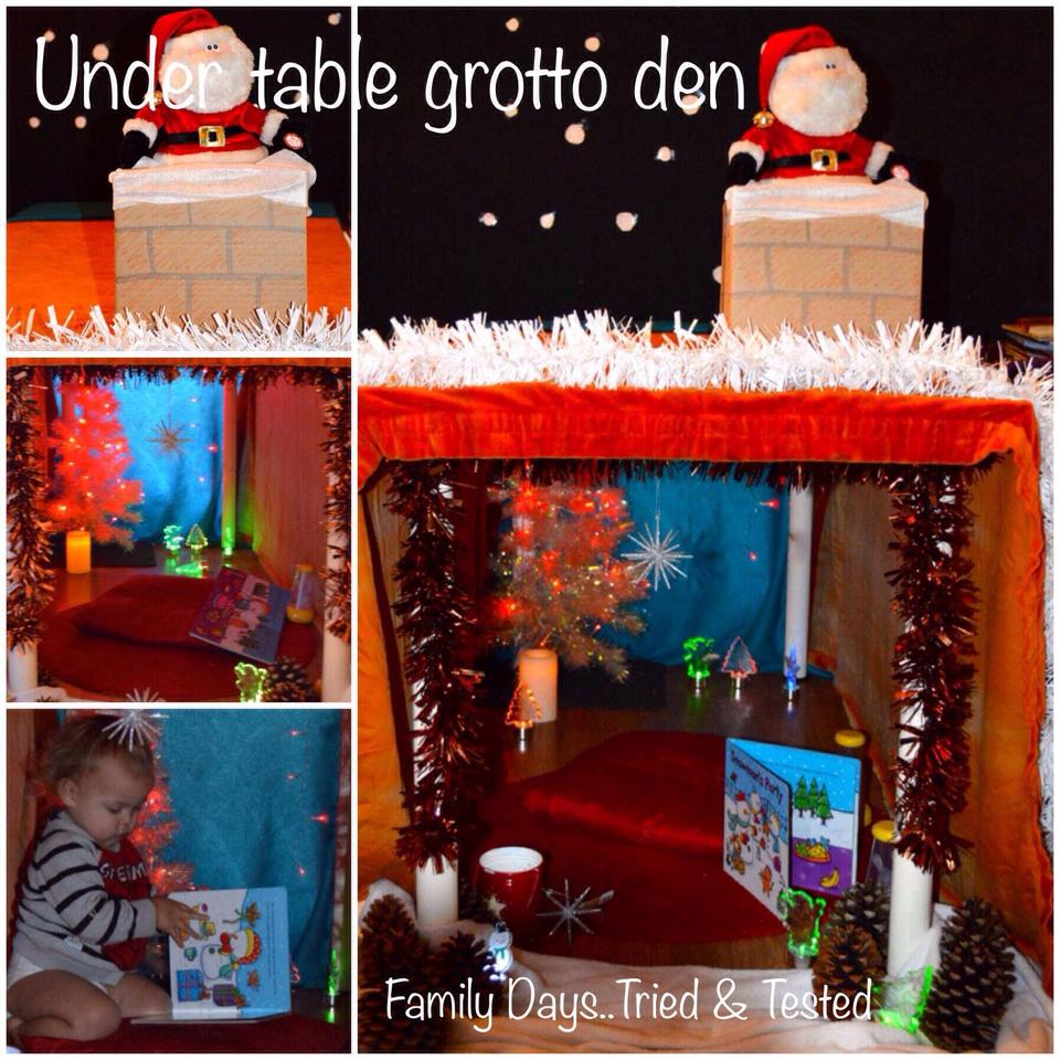 Christmas Activities For Kids - Under table Christmas grotto den