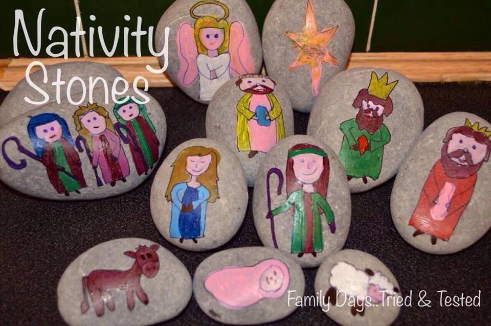Christmas Activities For Kids - Nativity story stones