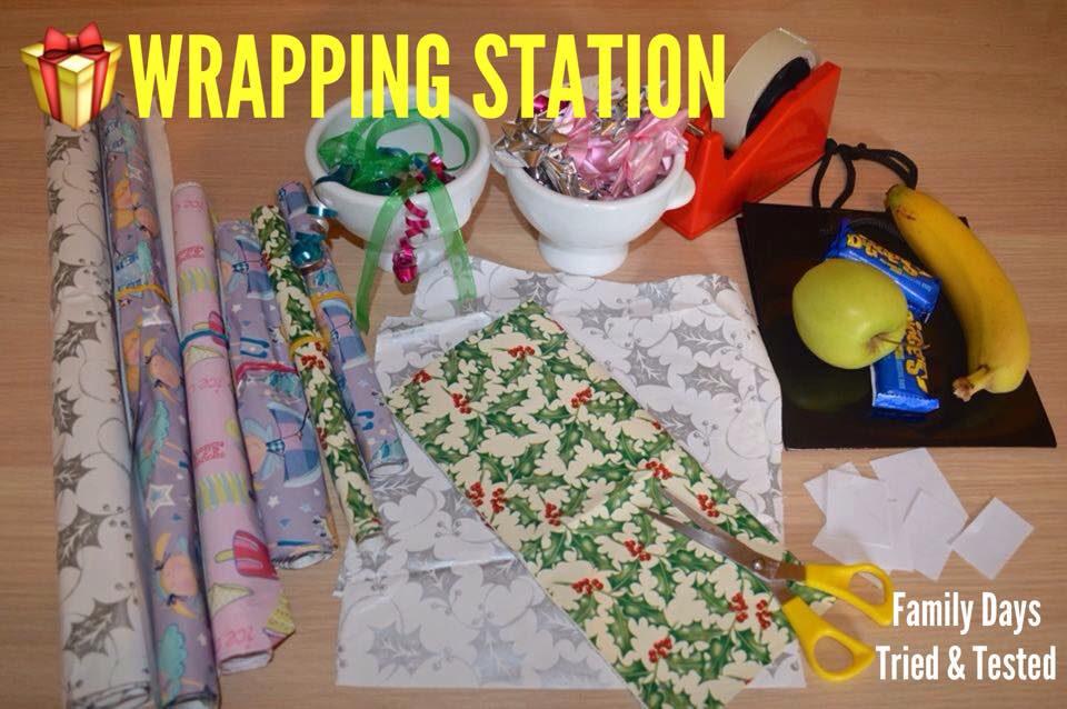 Christmas Activities For Kids - Christmas present wrapping station