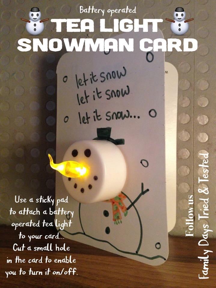 Christmas Activities For Kids - light-up snowman card