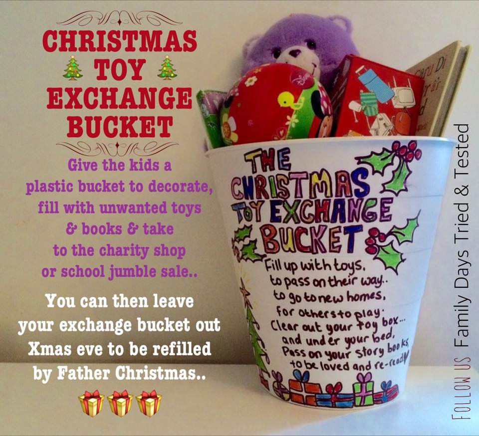 Christmas Activities For Kids - Christmas toy exchange bucket