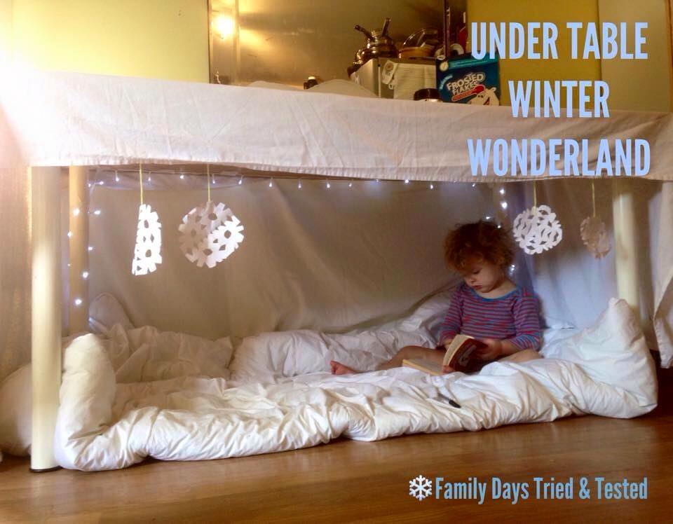 Christmas Activities For Kids - under table Winter Wonderland den
