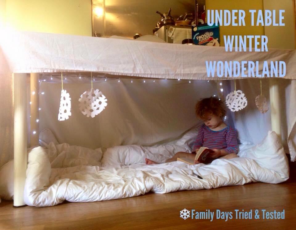 Christmas Activities For Kids - under table Winter Wonderland den