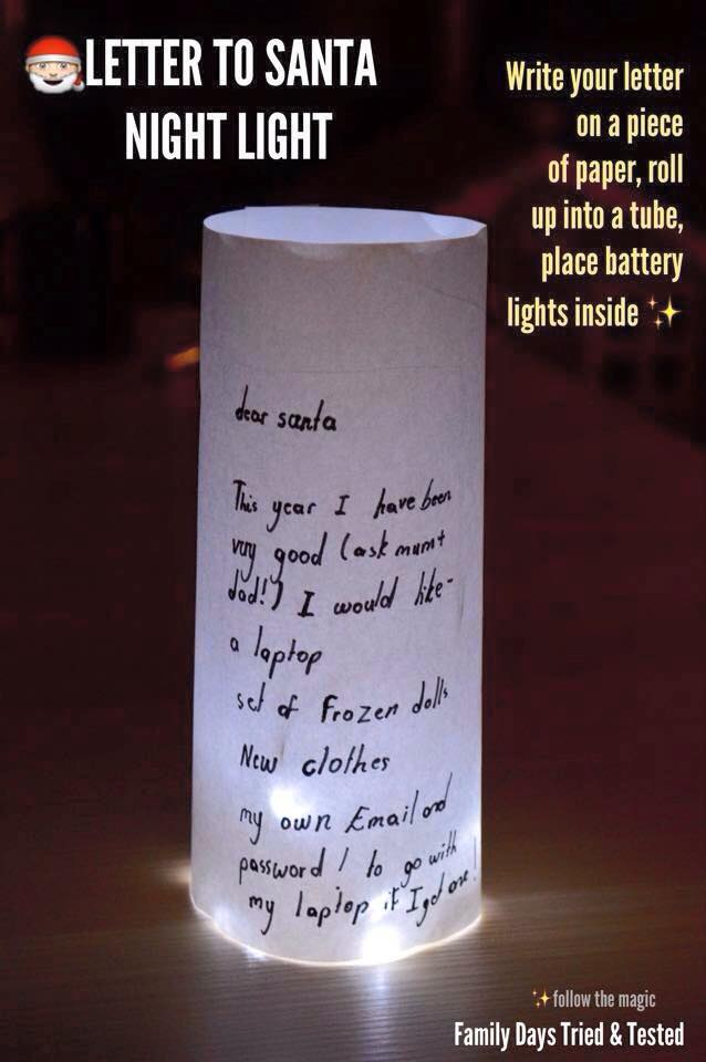 Christmas Activities For Kids - letter to Santa night light