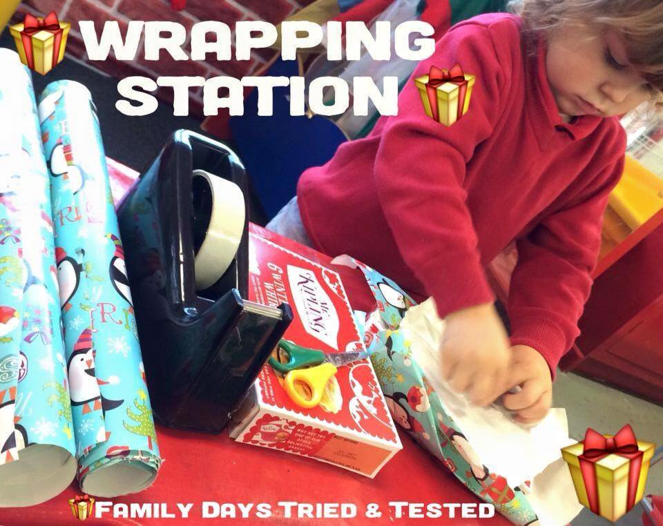 Christmas Activities For Kids - Christmas wrapping station for kids