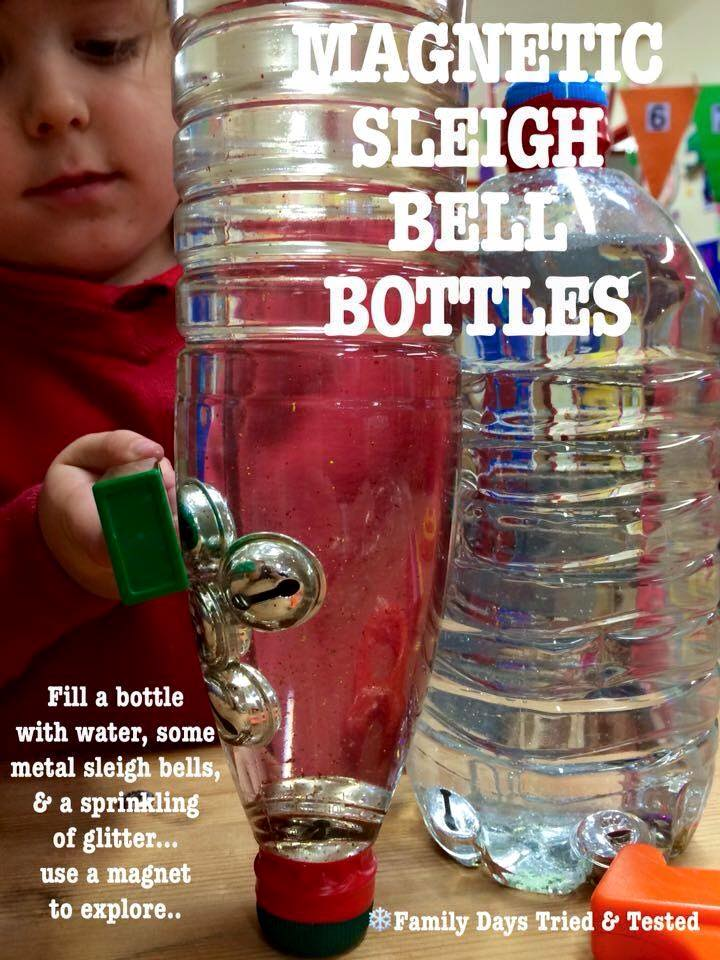 Christmas Activities For Kids - magnetic sleigh bell bottles
