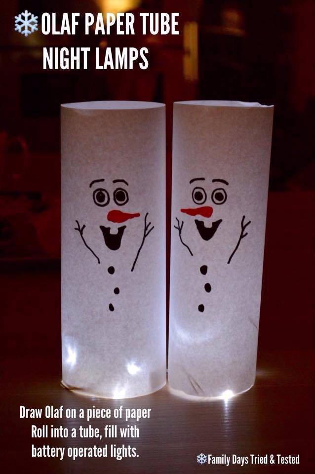 Christmas Activities For Kids - Olaf snowman paper tube lightsd
