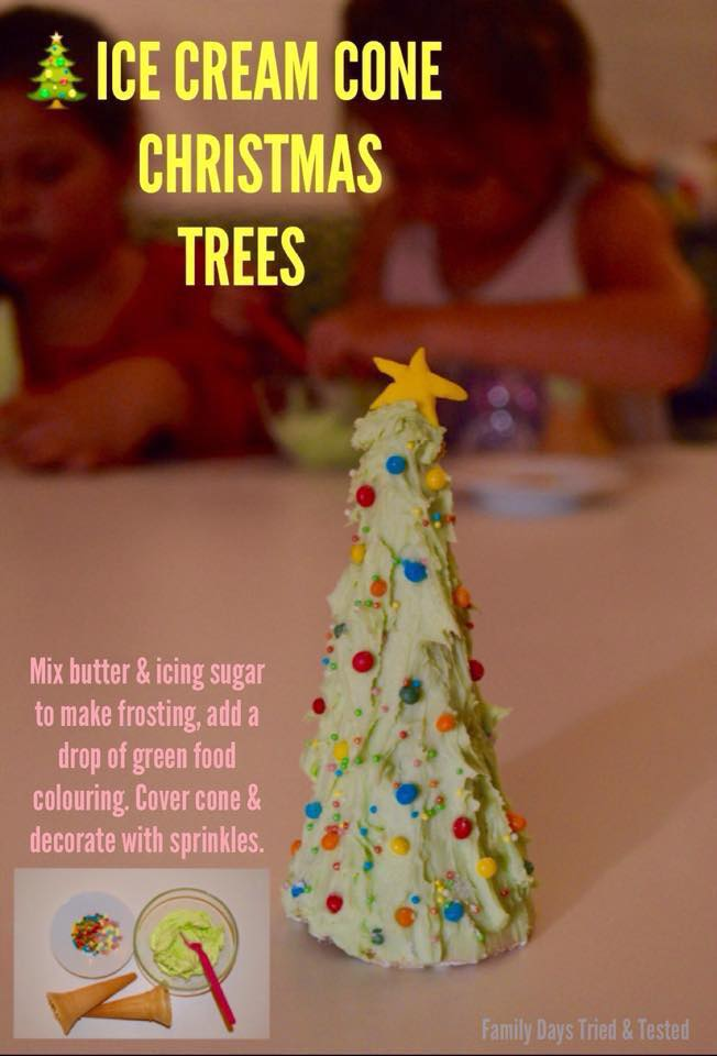 Christmas Activities For Kids - Ice Cream Cones Christmas Trees