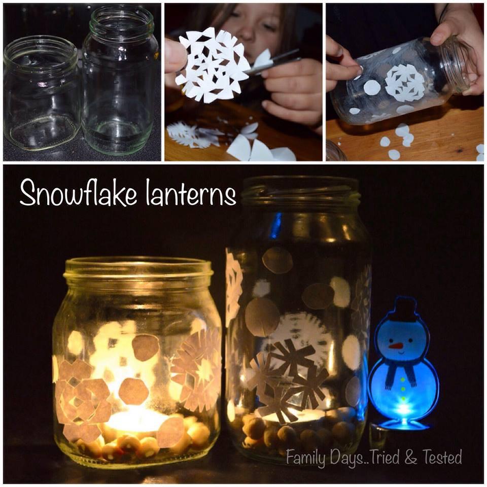 Christmas Activities For Kids - snowflake jar lanterns