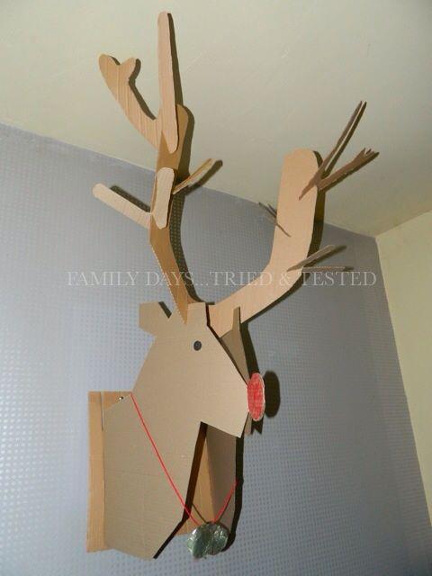 Christmas Activities For Kids - Cardboard Reindeer wall display