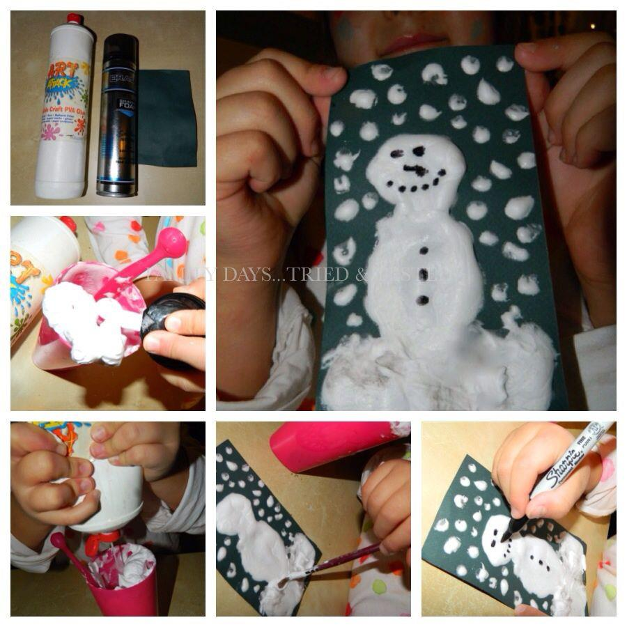 Christmas Activities For Kids - puffy snowman cards