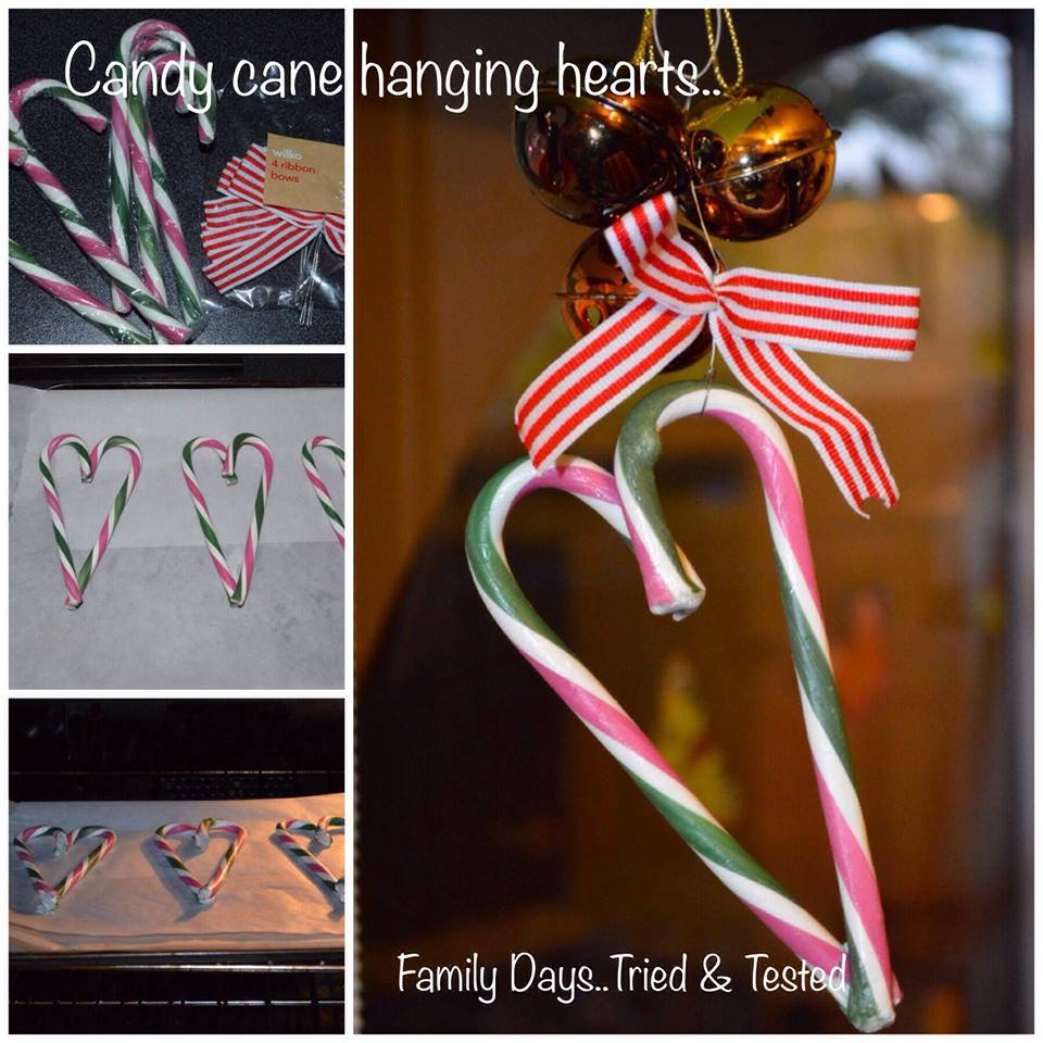 Christmas Activities For Kids - candy cane hanging hearts