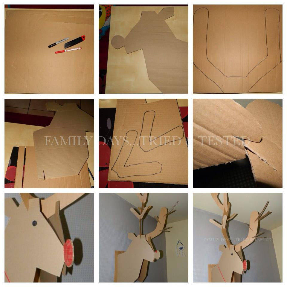 Christmas Activities For Kids - Cardboard Reindeer wall display