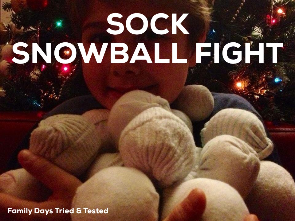 Christmas Activities For Kids - sock snowball fight
