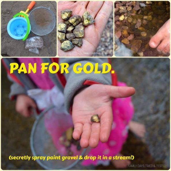 Ways to Get Kids Excited About Walking - panning for gold