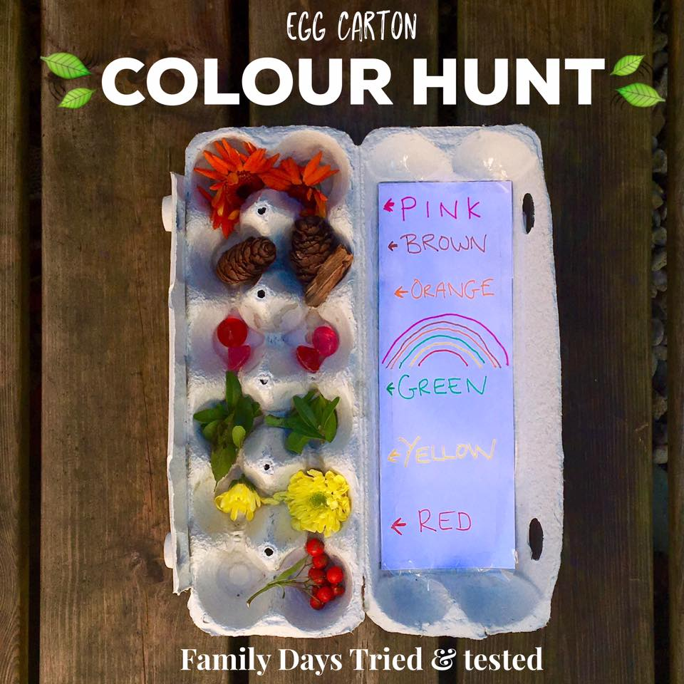 Ways to Get Kids Excited About Walking - egg carton colour hunt