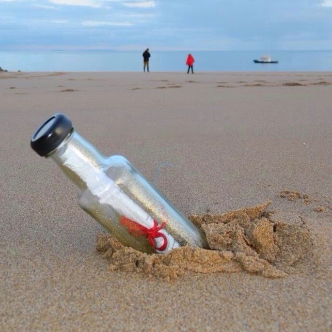 Ways to Get Kids Excited About Walking - finding a message in a bottle