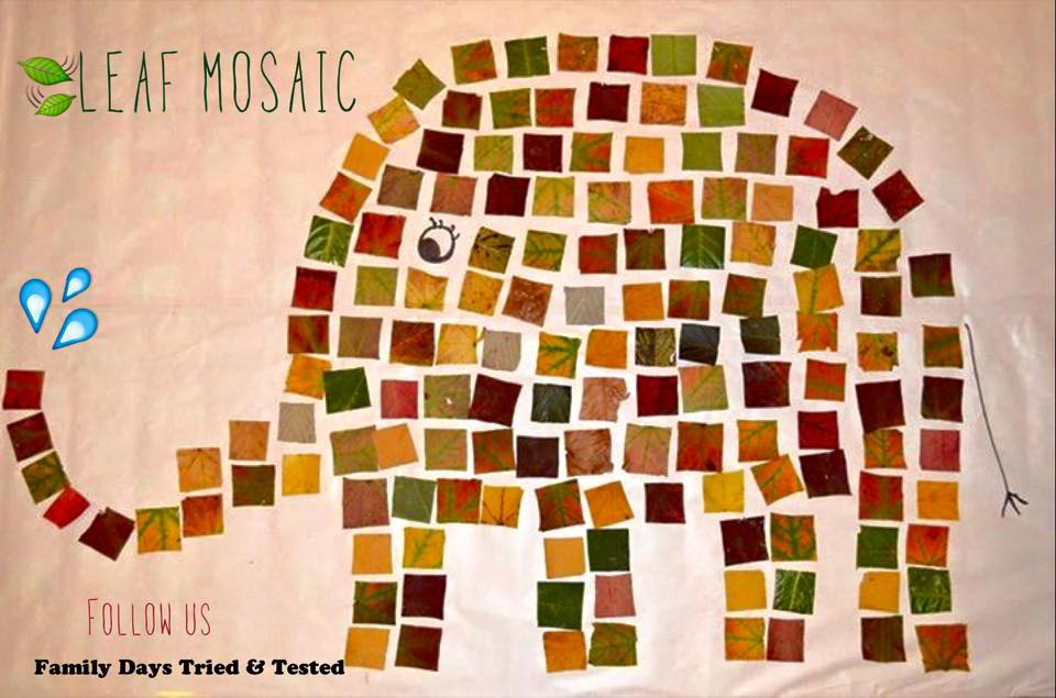 Elmer in mosaic leaf art