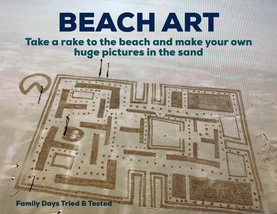 beach art with a rake