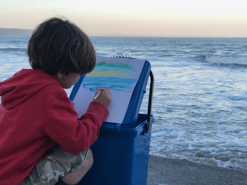 Family Fun Things to do at Bluestone - recycle bin outdoor artists