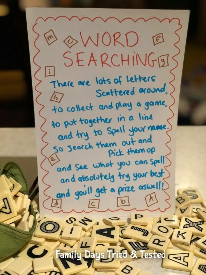 Family fun things to do at Bluestone - word searching