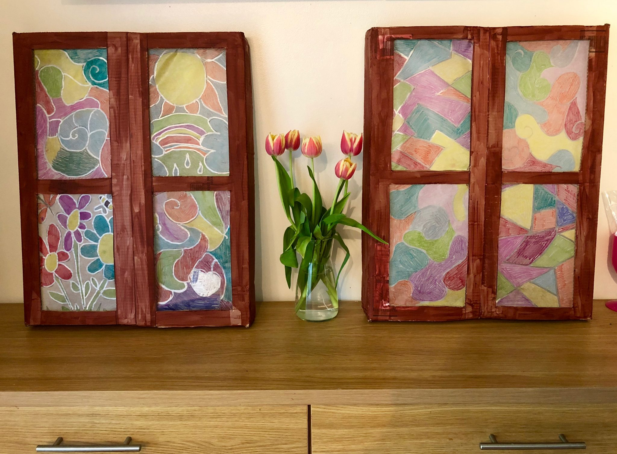 Homemade stained glass windows