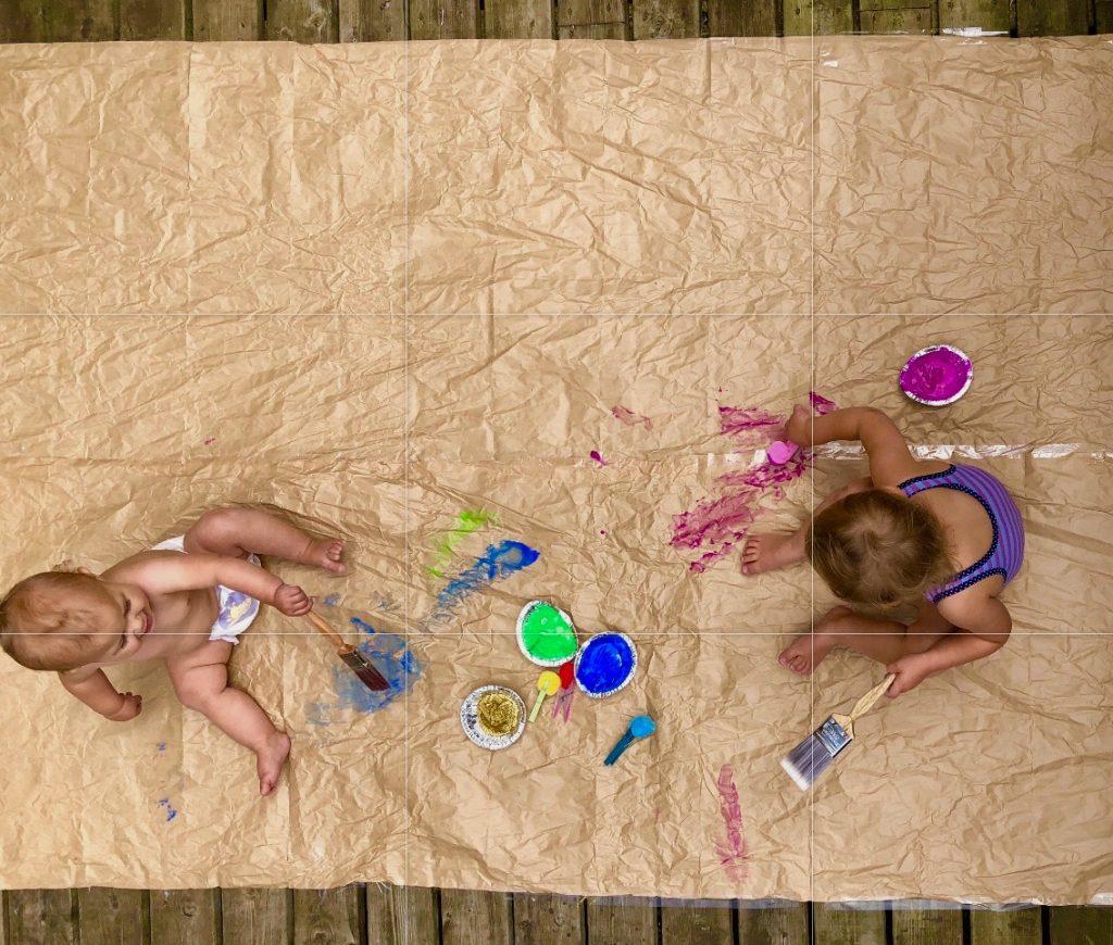Outdoor Pom Pom Painting