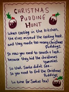 Christmas pudding treasure hunt
